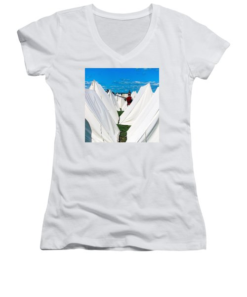 Field Of Tents Women's V-Neck T-Shirt (Junior Cut) by Kate Arsenault