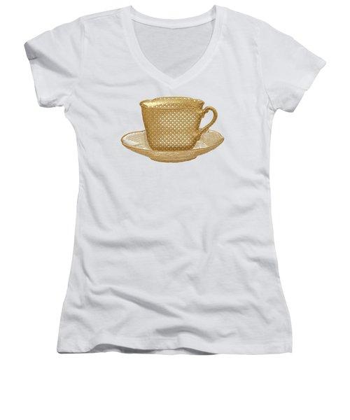 Teacup Garden Party 3 Women's V-Neck T-Shirt (Junior Cut) by J Scott