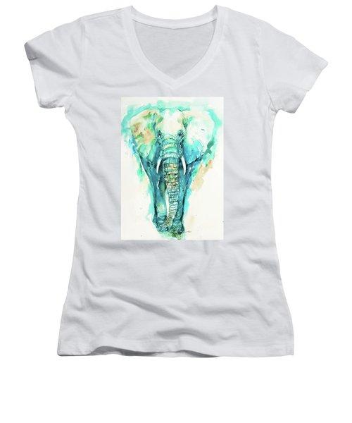 Teal N Turquoise Elephant Women's V-Neck T-Shirt