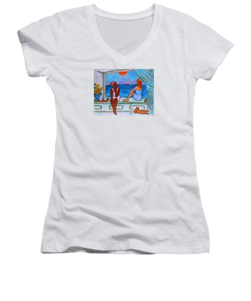 Women's V-Neck T-Shirt featuring the painting Teatime I by Xueling Zou