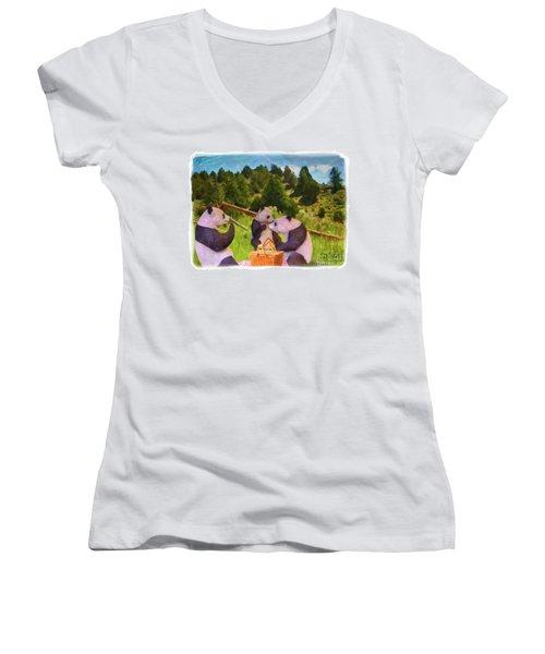 Teddy Bear Picnic Women's V-Neck T-Shirt