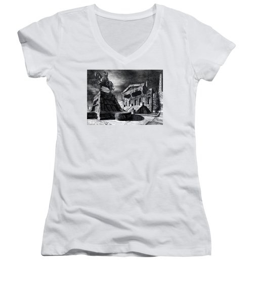 Women's V-Neck T-Shirt (Junior Cut) featuring the drawing Temple Of Perseus by Curtiss Shaffer