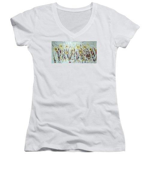 Women's V-Neck T-Shirt (Junior Cut) featuring the painting Tending My Garden by J R Seymour