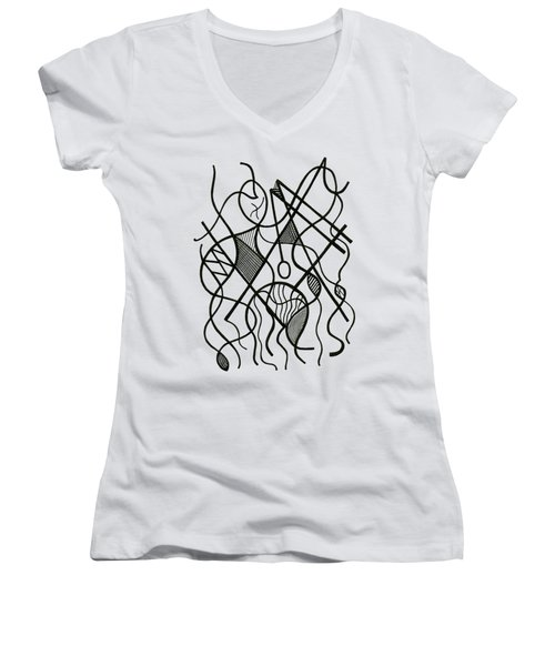 Tennis Anyone? Women's V-Neck T-Shirt (Junior Cut) by Rachel Knight