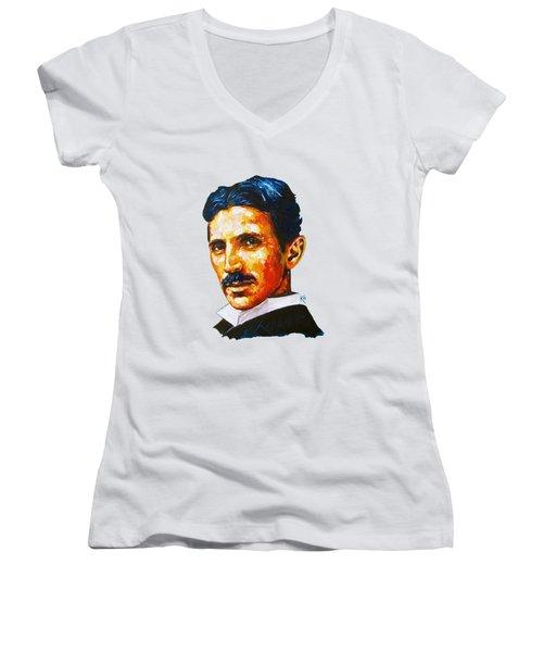 Tesla - Pure Genius Women's V-Neck T-Shirt
