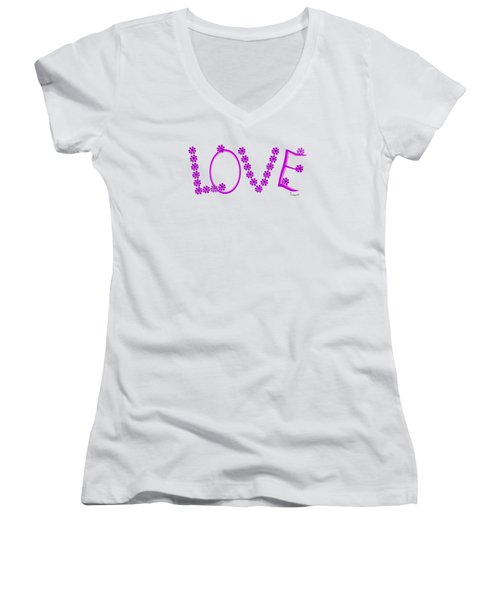 Women's V-Neck T-Shirt (Junior Cut) featuring the painting 1281 -  Love    Colour Violet by Irmgard Schoendorf Welch