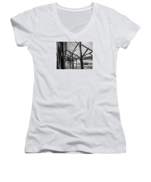 Women's V-Neck T-Shirt (Junior Cut) featuring the photograph Testament by Rhys Arithson