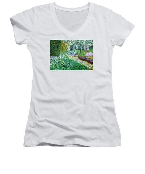 Tete D'or Park Lyon France Women's V-Neck T-Shirt (Junior Cut) by Valerie Ornstein