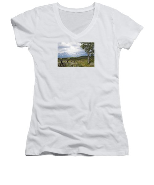 Teton Ranch Women's V-Neck T-Shirt (Junior Cut) by Diane Bohna
