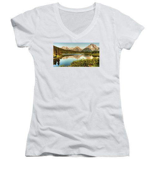 Women's V-Neck T-Shirt (Junior Cut) featuring the photograph Teton Reflections by Rebecca Hiatt