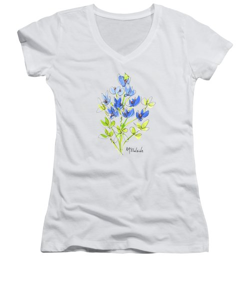 Texas Bluebonnet Botanical Women's V-Neck T-Shirt (Junior Cut) by Kathleen McElwaine
