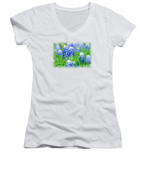 Texas Bluebonnet T-shirt Women's V-Neck T-Shirt