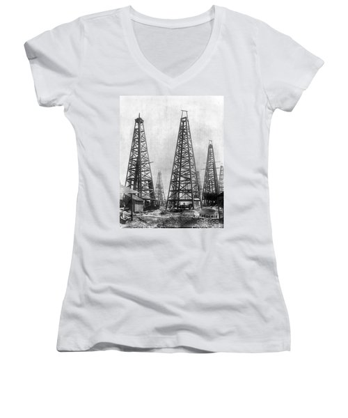 Texas: Oil Derricks, C1901 Women's V-Neck