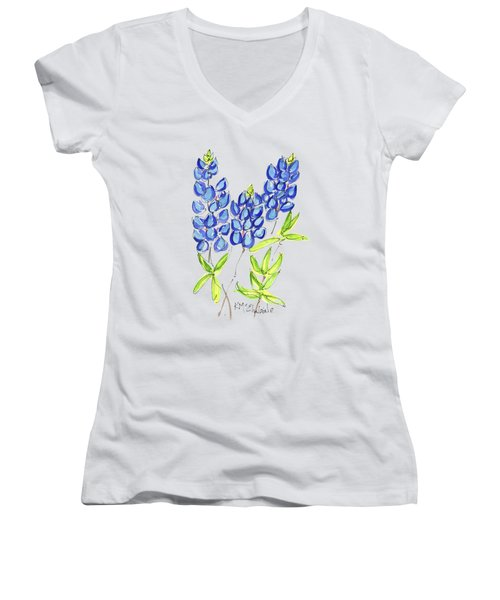 Texas State Flower The Bluebonnet Women's V-Neck T-Shirt (Junior Cut) by Kathleen McElwaine