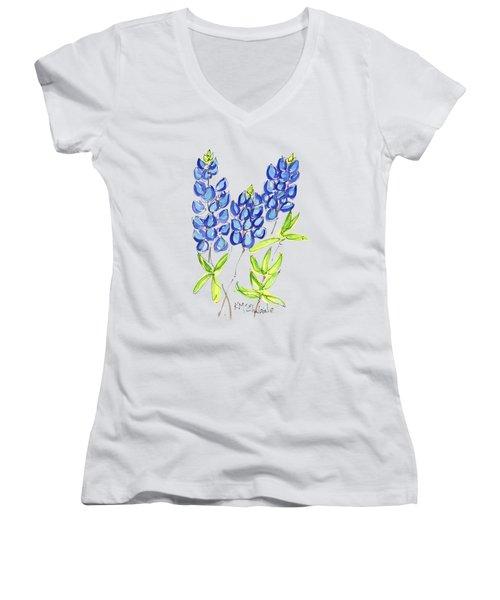 Texas State Flower The Bluebonnet Women's V-Neck T-Shirt