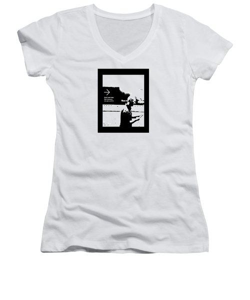 Text Women's V-Neck T-Shirt (Junior Cut) by Steve Godleski