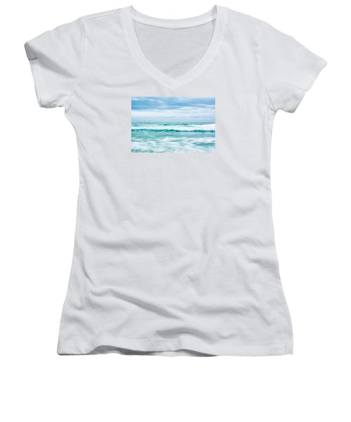 Textures In The Waves Women's V-Neck T-Shirt (Junior Cut) by Shelby  Young