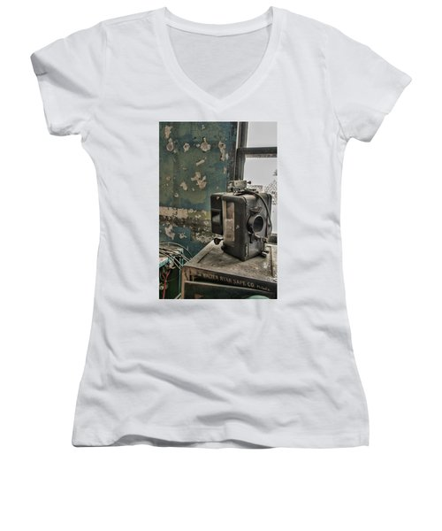 Women's V-Neck featuring the photograph The Abandoned Projector by Kristia Adams