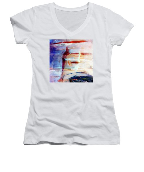 Women's V-Neck T-Shirt (Junior Cut) featuring the painting The Auberge by Dominic Piperata