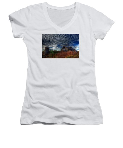The Barn At Twilight Women's V-Neck T-Shirt (Junior Cut) by Karen McKenzie McAdoo