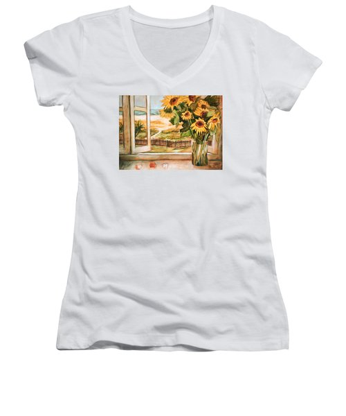 Women's V-Neck T-Shirt (Junior Cut) featuring the painting The Beach Sunflowers by Winsome Gunning