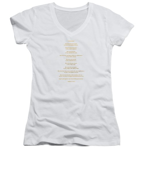 The Beatitudes Gospel Of Matthew Women's V-Neck T-Shirt (Junior Cut) by Rose Santuci-Sofranko