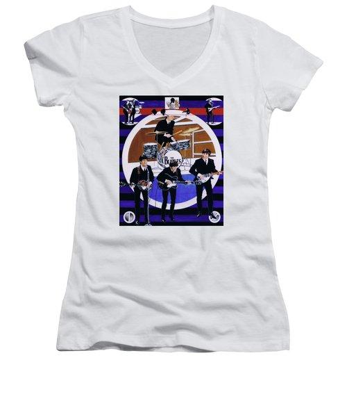 The Beatles - Live On The Ed Sullivan Show Women's V-Neck T-Shirt