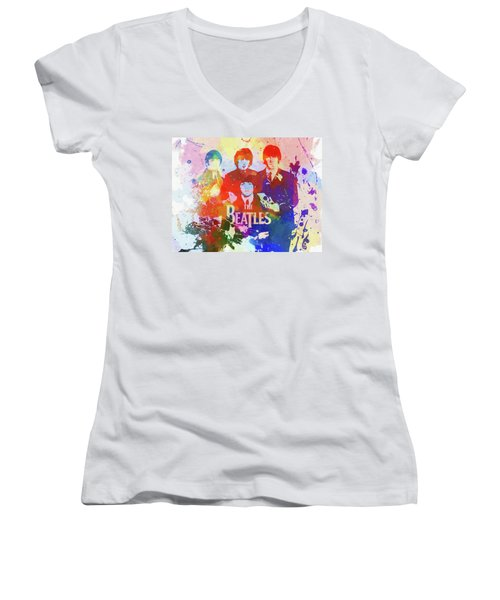 Women's V-Neck featuring the painting The Beatles Paint Splatter  by Dan Sproul