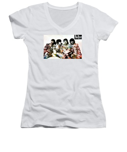 The Beatles--sargent Peppers Lonely Hearts Club Band Women's V-Neck (Athletic Fit)