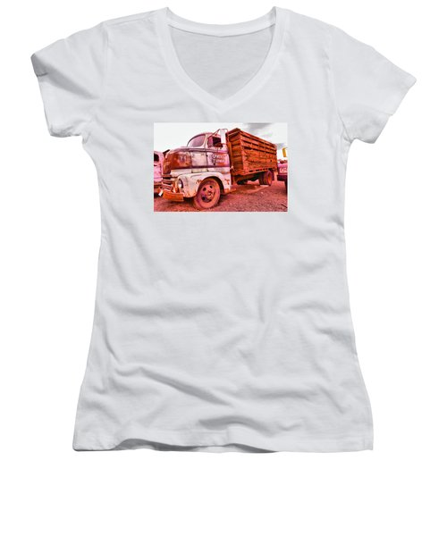 Women's V-Neck T-Shirt (Junior Cut) featuring the photograph The Beauty Of An Old Truck by Jeff Swan