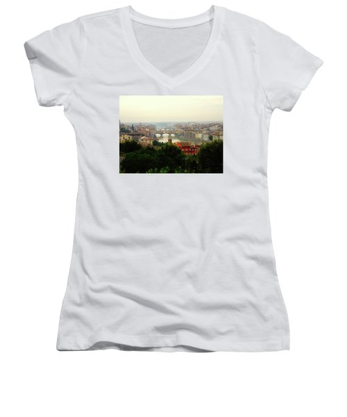 Women's V-Neck T-Shirt (Junior Cut) featuring the photograph The Beauty Of Florence  by Alan Lakin