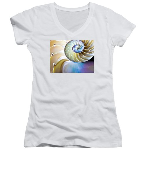 The Beauty Of Nautilus Women's V-Neck (Athletic Fit)