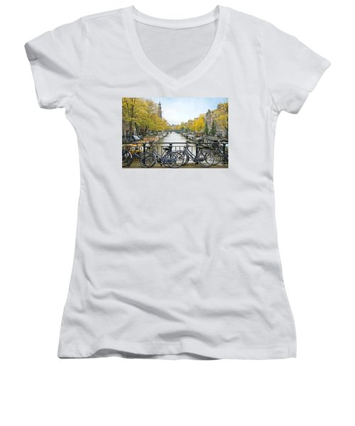 The Bicycle City Of Amsterdam Women's V-Neck