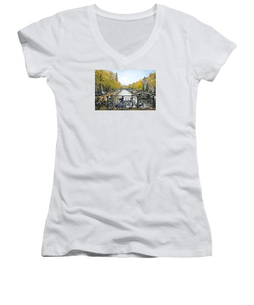 The Bicycle City Of Amsterdam Women's V-Neck (Athletic Fit)