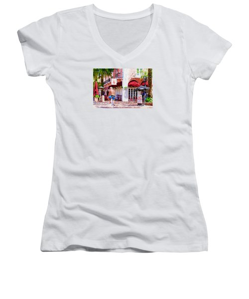 Women's V-Neck T-Shirt (Junior Cut) featuring the painting The Biker by Judy Kay