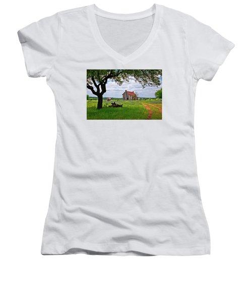 Women's V-Neck T-Shirt (Junior Cut) featuring the photograph The Bluebonnet House by Linda Unger