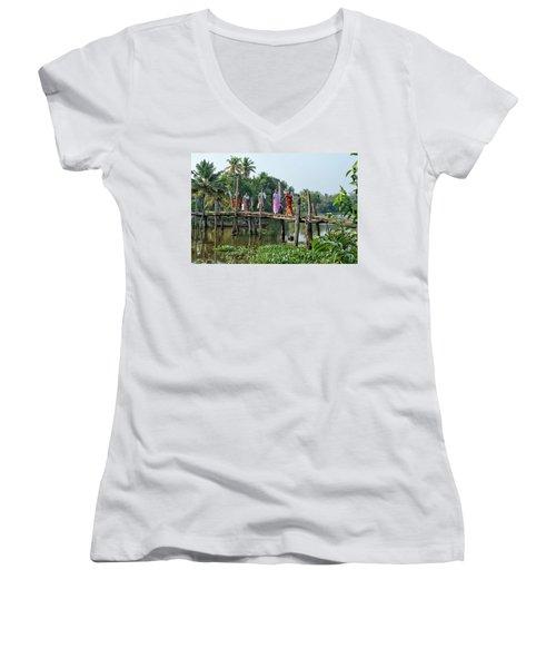 Women's V-Neck T-Shirt (Junior Cut) featuring the photograph The Bridge by Marion Galt