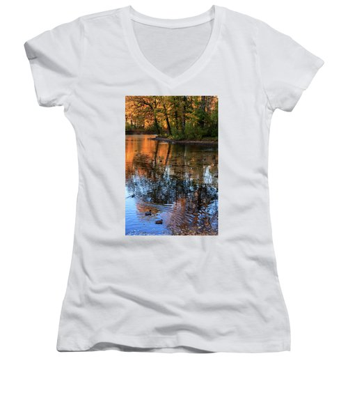 The Bright Colors Of Autumn, Quiet Evenings Are Reflected In The Waters Of The City Pond Women's V-Neck T-Shirt
