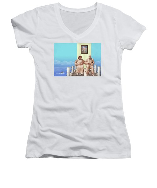 The Cadburys On Vacation Women's V-Neck T-Shirt (Junior Cut) by Marty Garland