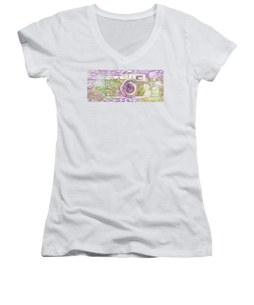 Women's V-Neck T-Shirt (Junior Cut) featuring the digital art The Camera - 02c6 by Variance Collections