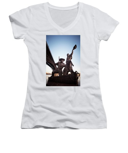 Women's V-Neck featuring the photograph The Captain Returns by David Coblitz