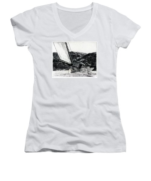 The Cat Boat Women's V-Neck (Athletic Fit)