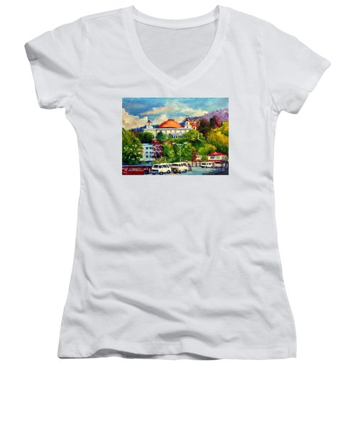 The Central Taxi Terminal In Jayapura Women's V-Neck T-Shirt
