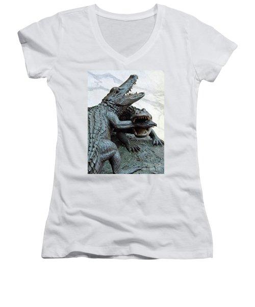 The Chomp Women's V-Neck T-Shirt (Junior Cut) by D Hackett