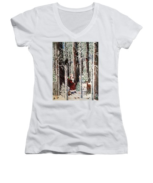 The Christmas Forest Visitor Women's V-Neck T-Shirt