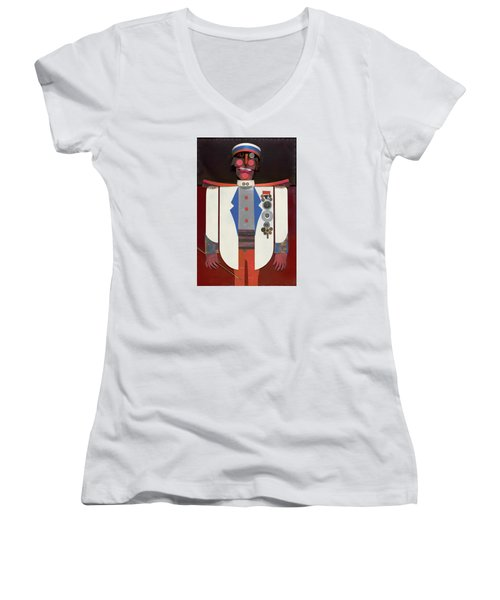 Women's V-Neck T-Shirt (Junior Cut) featuring the painting The Commander by Bob Coonts