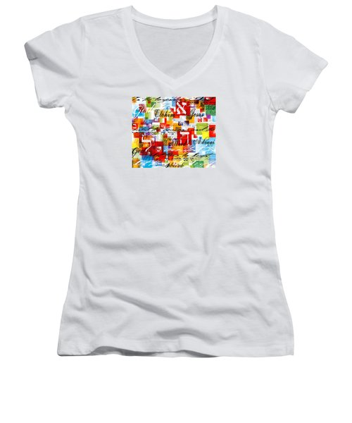 The Creator Women's V-Neck T-Shirt (Junior Cut) by Gary Bodnar