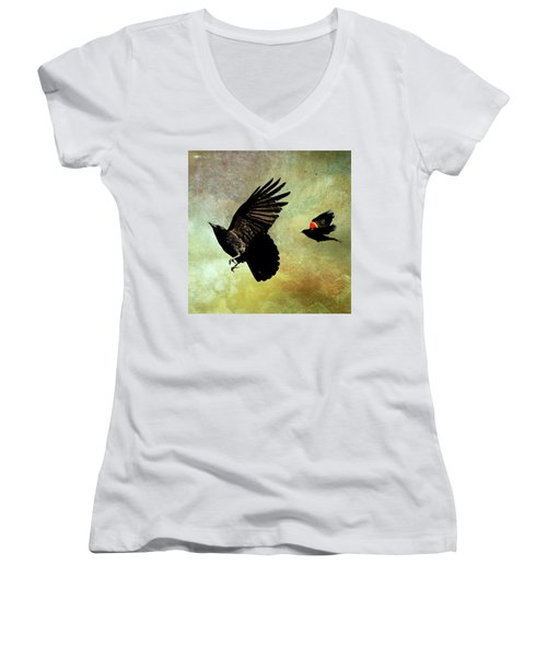 The Crow And The Blackbird Women's V-Neck T-Shirt (Junior Cut) by Peggy Collins
