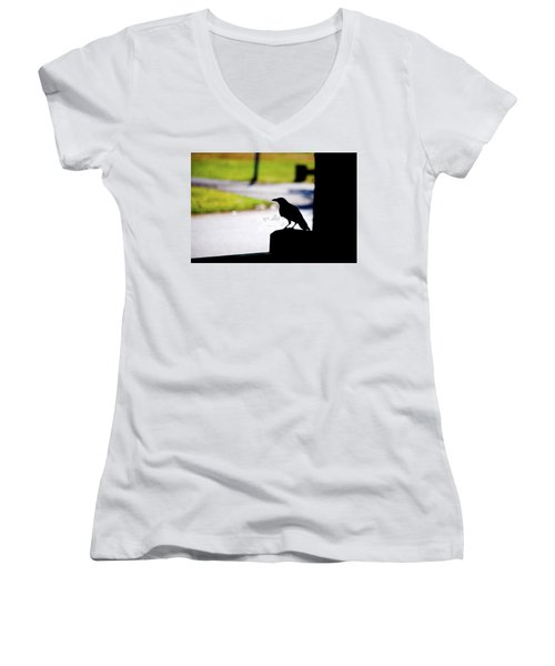 Women's V-Neck T-Shirt (Junior Cut) featuring the photograph The Crow Awaits by Karol Livote