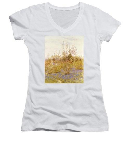 The Cuckoo Women's V-Neck T-Shirt (Junior Cut) by Helen Allingham